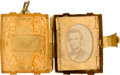 Photography, Abraham Lincoln: A Charming Brass Locket in the Form of a Book Containing His Bearded Photograph....