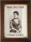 Political:3D & Other Display (pre-1896), [Grover Cleveland] : Sparks Medicine Co. Advertising with a Portrait of Mrs. Cleveland....