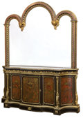 Furniture : French, A FRENCH GILT BRONZE, EBONIZED AND GILT WOOD CABINET AND MIRRORWITH TORTOISESHELL AND BRASS INLAY . Unknown maker, probabl...