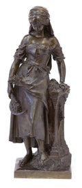 Sculpture, A FRENCH PATINATED BRONZE FIGURE AFTER MATHURIN MOREAU . After Mathurin Moreau (French, 1822-1912). Unknown foundry, probabl...