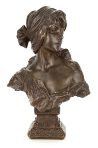 A FRENCH PATINATED BRONZE FIGURE AFTER EMMANUEL VILLANIS (FRENCH, 1858-1914): CENDRILLON