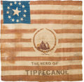 Political:Textile Display (pre-1896), William Henry Harrison: Silk Campaign Flag. ...