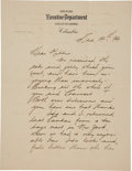 Autographs:U.S. Presidents, William McKinley Letter Signed ...