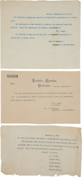 Miscellaneous, William McKinley Assassination: Typed Telegram on Executive MansionStationery ...