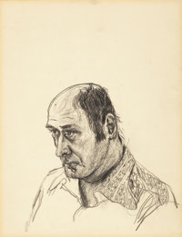 MALCOLM MORLEY (British, b. 1931) Self Portrait, 1973 Graphite on paper 17 x 14 inches (43.2 x 35