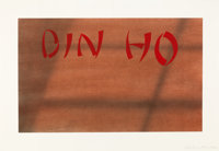 EDWARD RUSCHA (American, b. 1937) Din Ho, 1990 Dry pigment and acrylic on paper 15-1/4 x 22-1/4 i