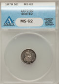 Seated Half Dimes, 1870 H10C Seated MS62 ANACS. NGC Census: (47/140). PCGS Population(47/110). Mintage: 535,000. Numismedia Wsl. Price for pr...