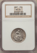 Seated Quarters: , 1887 25C MS62 NGC. NGC Census: (4/78). PCGS Population (14/77).Mintage: 10,000. Numismedia Wsl. Price for problem free NGC...