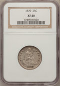 Seated Quarters: , 1870 25C XF40 NGC. NGC Census: (2/21). PCGS Population (8/38).Mintage: 86,400. Numismedia Wsl. Price for problem free NGC/...