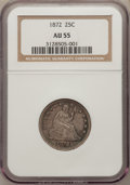 Seated Quarters: , 1872 25C AU55 NGC. NGC Census: (6/26). PCGS Population (5/23).Mintage: 182,000. Numismedia Wsl. Price for problem free NGC...