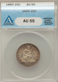 Seated Quarters: , 1885 25C AU55 ANACS. NGC Census: (2/71). PCGS Population (1/96).Mintage: 13,600. Numismedia Wsl. Price for problem free NG...