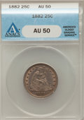 Seated Quarters: , 1882 25C AU50 ANACS. NGC Census: (1/60). PCGS Population (1/89).Mintage: 15,200. Numismedia Wsl. Price for problem free NG...