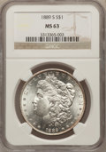 Morgan Dollars: , 1889-S $1 MS63 NGC. NGC Census: (1319/1458). PCGS Population(2354/2623). Mintage: 700,000. Numismedia Wsl. Price for probl...