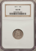 Seated Dimes: , 1871 10C AU58 NGC. NGC Census: (5/41). PCGS Population (1/34).Mintage: 906,700. Numismedia Wsl. Price for problem free NGC...