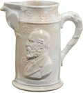 """Political:3D & Other Display (pre-1896), James A. Garfield: Ironstone Pitcher. """"Garfield"""" is shown on both sides of this 8"""" pitcher with an eagle below the spout and sca..."""