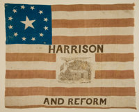 William Henry Harrison: A Superb Silk Log Cabin Flag from the 1840 Campaign