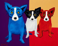 GEORGE RODRIGUE (American, b. 1944) The Blues are Bigger Than Both of Us, 1996 Oil and acrylic on ca