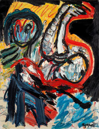KAREL APPEL (Dutch, 1921-2006) Untitled Composition, 1983 Oil on canvas 45-3/4 x 35 inches (116.2