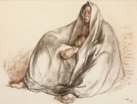 FRANCISCO ZÚÑIGA (Mexican, 1912-1998) Mother and Child, 1967 Charcoal and pastel on paper 19-3/4