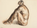 Latin American:Contemporary, FRANCISCO ZÚÑIGA (Mexican, 1912-1998). Seated Male Nude,1964. Crayon and charcoal on paper. 19-3/4 x 25-3/4 inches (50....