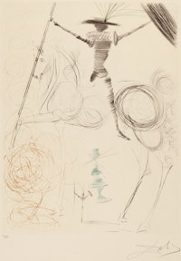 SALVADOR DALÍ (Spanish, 1904-1989) Don Quixote, 1970 Drypoint in color on Lana paper 20-1/2 x 15-