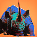 Prints:Contemporary, ANDY WARHOL (American, 1928-1987). Black Rhinoceros (fromEndangered Species), 1983. Color screenprint on Lenox MuseumB...