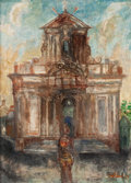 Impressionism & Modernism:post-Impressionism, FRANCO GENTILINI (Italian, 1909-1981). La Cathedrale, 1949.Oil and sand on canvas. 32 x 23 inches (81.3 x 58.4 cm). Sig...