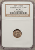Seated Half Dimes: , 1873-S H10C MS63 NGC. Ex: Richmond Collection. NGC Census:(44/135). PCGS Population (50/108). Mintage: 324,000. Numismedia...