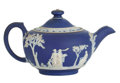 Ceramics & Porcelain, British:Contemporary   (1950 to present)  , AN ENGLISH JASPER WARE TEA POT. Wedgwood, Burslem (Stoke-on-Trent),Staffordshire, England, 20th century. Marks: WEDGWOOD,...(Total: 2 Items)