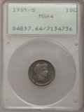 Barber Dimes: , 1905-S 10C MS64 PCGS. PCGS Population (49/30). NGC Census: (27/15).Mintage: 6,855,199. Numismedia Wsl. Price for problem f...