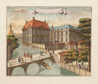 A SET OF FOUR FRAMED DUTCH HAND COLORED COPPER ENGRAVINGS OF TOWN VIEWS OF THE HAGUE AFTER BOITET Reiner Boitet