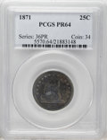 Proof Seated Quarters: , 1871 25C PR64 PCGS. PCGS Population (31/12). NGC Census: (25/18).Mintage: 960. Numismedia Wsl. Price: $975. (#5570)...