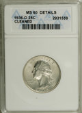 1936-D 25C --Cleaned--ANACS. MS60 Details. NGC Census: (0/633). PCGS Population (2/1227). Mintage: 5,374,000. Numismedia...