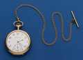 Timepieces:Pocket (post 1900), Swiss Heavy 14k 50 mm Watch With 10k Gold Chain. ...