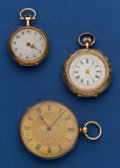 Timepieces:Pocket (post 1900), Three Gold Swiss Pocket Watches. ... (Total: 3 Items)