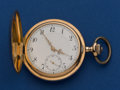 Timepieces:Pocket (post 1900), Swiss 14 Gold 49 mm Hunters Case. ...