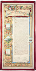 Decorative Arts, British:Other , MALCOLM S. FORBES COLLECTION: TWO ELABORATE TESTIMONIALS PRESENTEDBY THE B.B. & C.I. RAILWAY, BOMBAY, INDIA, FOR LONG SERVI...