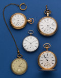 Timepieces:Pocket (post 1900), Five Pocket Watches, Silver Key Wind With Compass Set Fancy Plates,16 Size Waltham Hunter, 12 Size Waltham, 18 Size Swiss, 10...(Total: 5 Items)