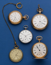 Five Pocket Watches, Silver Key Wind With Compass Set Fancy Plates, 16 Size Waltham Hunter, 12 Size Waltham, 18 Size Swi...