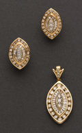 Estate Jewelry:Suites, Diamond & Gold Earring & Pendant Suite. ...