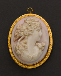 Large Coral & Gold Cameo