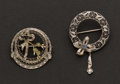 Estate Jewelry:Brooches - Pins, Two 14 White Gold Filigree Pins. ... (Total: 2 Items)
