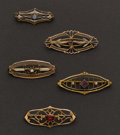 Estate Jewelry:Brooches - Pins, Five Antique Gold Pins. ... (Total: 5 Items)