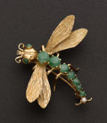 Estate Jewelry:Brooches - Pins, Gold, Jade & Diamond Dragonfly Pin. ...