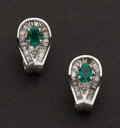 Estate Jewelry:Earrings, Emerald & Diamond Earrings. ...
