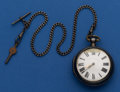 Timepieces:Pocket (pre 1900) , Merrison London Verge Fusee Pocket Watch 58 mm Sterling Pair CaseWith Chain. ...