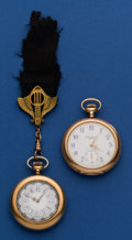 Timepieces:Pocket (post 1900), Two - Fancy Dials Pocket Watches Elgin & 19 Jewel WalthamRiverside. ... (Total: 2 Items)