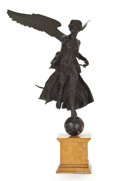 Bronze:European, AN ITALIAN PATINATED BRONZE FIGURE OF WINGED VICTORY ON A MARBLEBASE . Attributed to V. Cuccillato, Naples, Italy, circa 19...(Total: 3 Items)