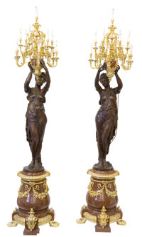 A PAIR OF MONUMENTAL FRENCH NAPOLEON III STYLE BRONZE, GILT BRONZE AND MARBLE FIGURAL THIRTEEN-LIGHT TORCHERES Unk