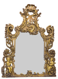 RAY & CLARE STERN ESTATE  GEORGE III STYLE CARVED GILT WOOD MIRROR England, circa 1850 67-3/4 x 51-1/2 i